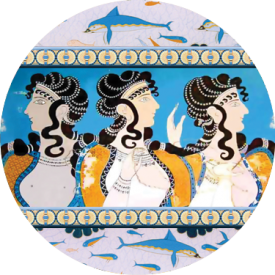 The Minoan Queen button, one of 18 designs in our Queens category.