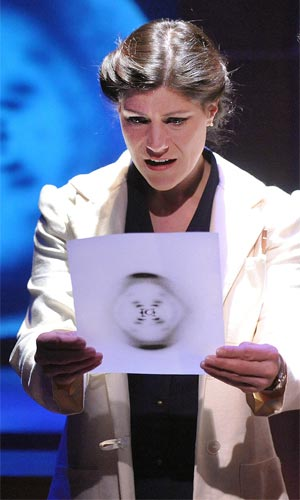 Elizabeth Rich as Rosalind Franklin in the Theatre J production of Photograph 51 by Anne Ziegler.  Costume design by Luciana Stecconi.