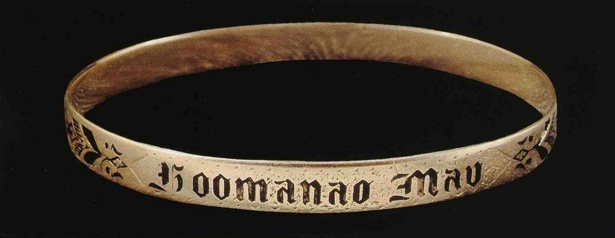 "Queen Liliuokalani's bracelet with the words ""Hoomanao mau"" (""Lasting remembrance,"" or ho'omana'o mau)."