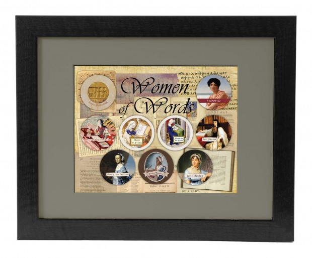 This is a mock-up of our Women of Words poster (11x14) in a matted 16x20 frame.