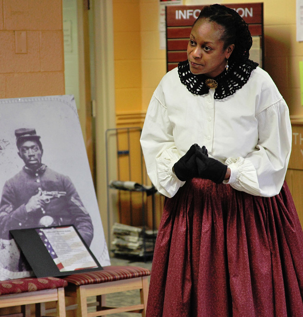 Denise Benedetto in costume as Civil War spy Mary Bowser, at Germanna Community College's Black History Month Living History event on February 11, 2012.
