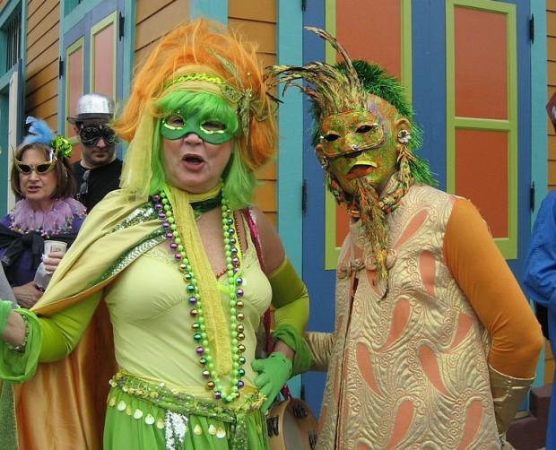 Mardi Gras costumers in the Marigny neighborhood of New Orleans.
