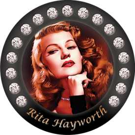 Rita Hayworth, one of 8 buttons in our Glamour Grrl category.