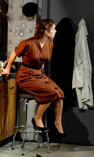 Kristen Bush as Rosalind Franklin in the Ensemble Studio Theatre production of Photograph 51.  Costume design by Suzanne Chesney.  Photo credit:  Suzanne Chesney.
