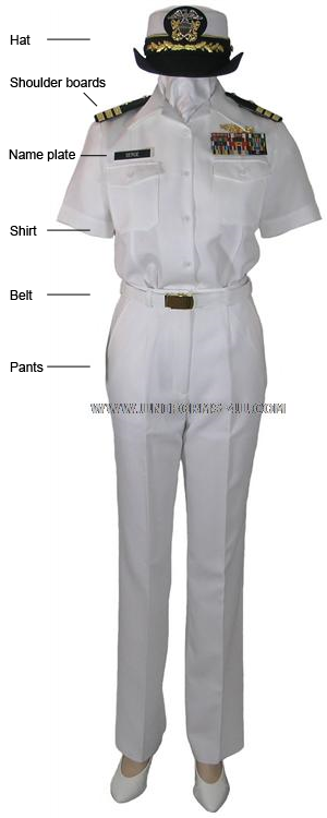 US Navy Summer White uniform for a female line officer, Commander rank.