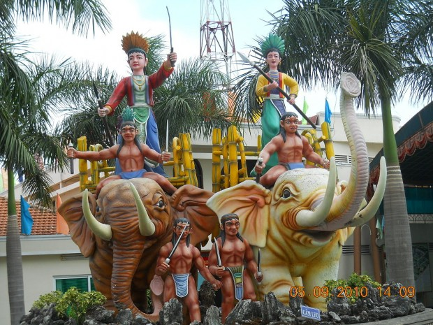 The statue of Hai Ba Trung in the Suoi Tien Amusement Park, which is located at the 9th District, Ho Chi Minh City, Vietnam.