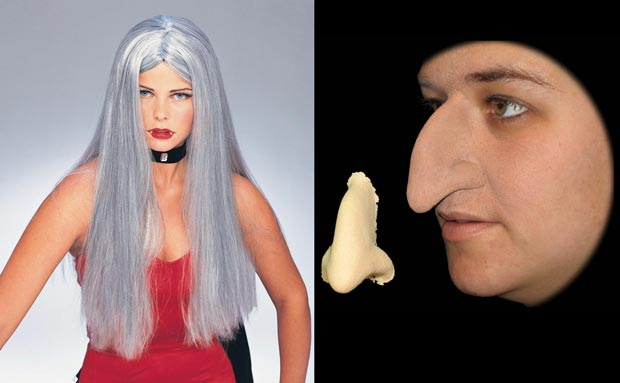 witch wig and witch nose