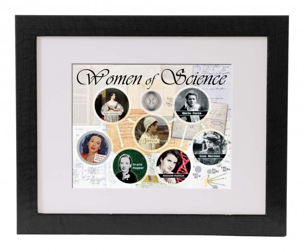 This is a mock-up of our Women of Science poster (11x14) in a matted 16x20 frame.